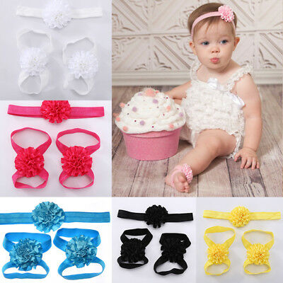 Headband Foot Flower Princess Girl Kids Toddlers Infant Accessories 3pcs 1set