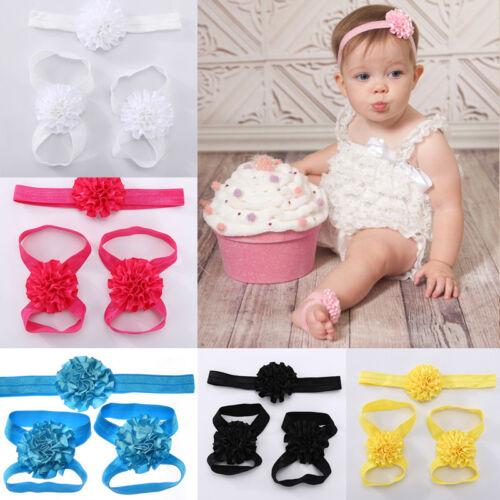 3PC//Set Baby Girl Kid Newborn Infant Headband Head Foot Elastic Hair Accessories
