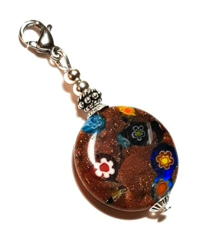 Silver Brown Millefiori Glass Bead Pendant For Choker Necklace or Zip Charm