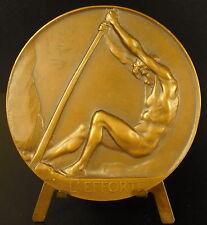 Médaille homme nu Josué Dupon c1930 L'effort aciéries minière de la Sambre Medal