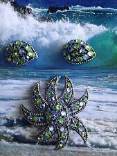 VINTAGE SIGNED WEISS BROOCH PIN Earrings Set  Rhinestones