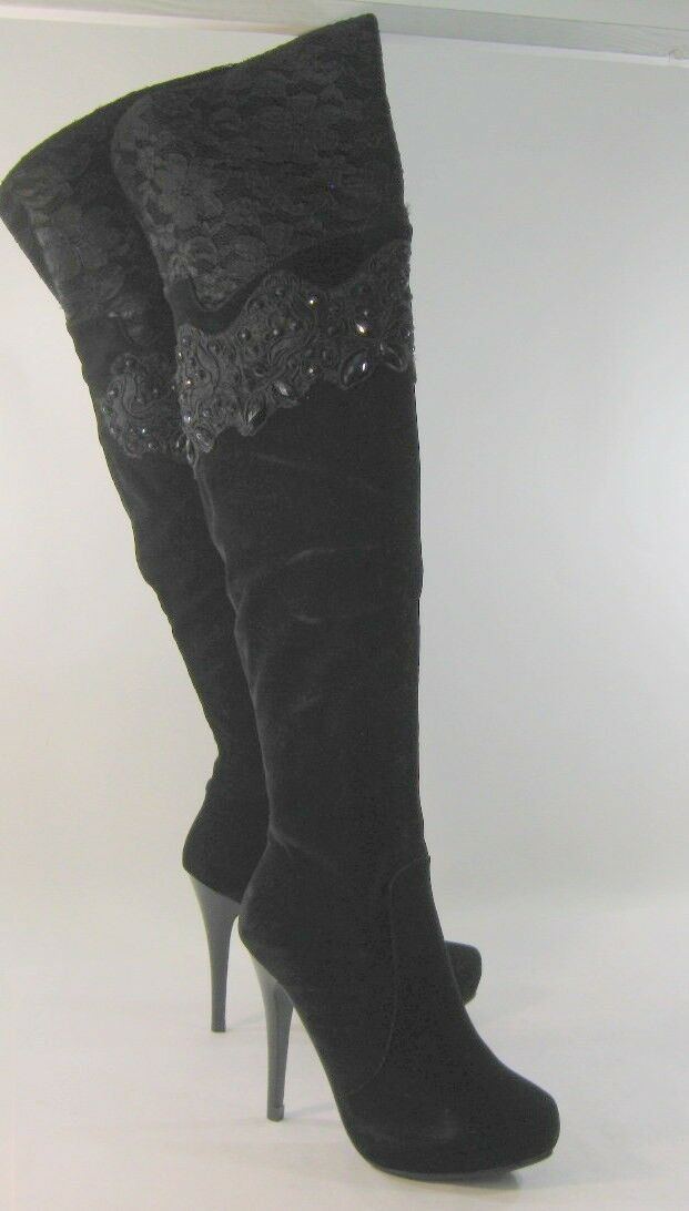 NEW LADIES Black Lacy 5 High Heel  Top Beads Stone Sexy Knee Boot Size 7
