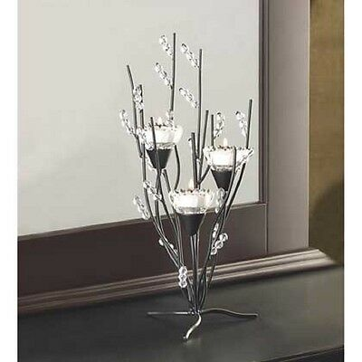 SET OF 2 CRYTAL TREE TEALIGHT CANDLE HOLDER TABLE DECOR