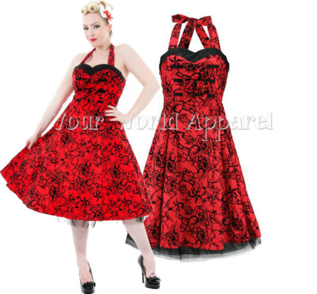 RED HALTER DRESS FLOCKED SWALLOWS STARS PINUP 1950's HOUSEWIFE RETRO H&R LONDON