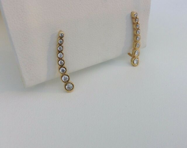 Climbing Earrings-Ear Crawler-14 KT Gold Plated Sterling Silver-Small-Round CZ