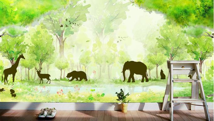 3D Forest  Animals 88 Wall Paper Murals Wall Print Wall Wallpaper Mural AU Kyra