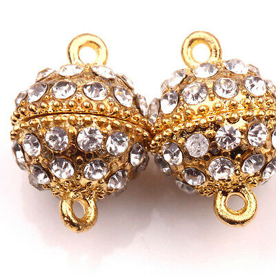5/10 Sets Round Ball Crystal Rhinestone Strong Magnetic Clasps Jewelry 19x13mm