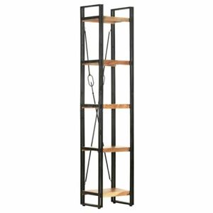 5-Tier Bookcase Industrial Style Wooden Book Rack Display Shelf Storage Stand
