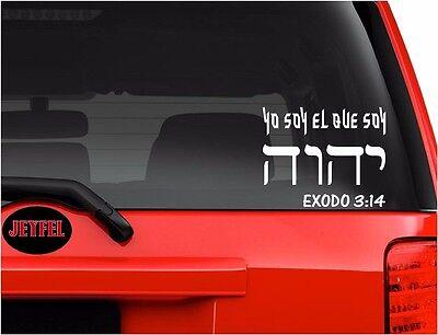 Car Decals. Sticker YO SOY EL QUE SOY TETRAGRAMATON YHWH BIBLIA EXODO 3:14