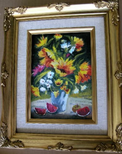 """Framed Oil Painting /""""Floral-N28/"""" 9x11 in."""