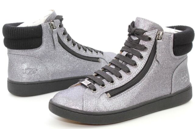1a703758b8b UGG Olive Glitter Rib Knit Collar Gunmetal Silver High Top SNEAKERS Size 11  US