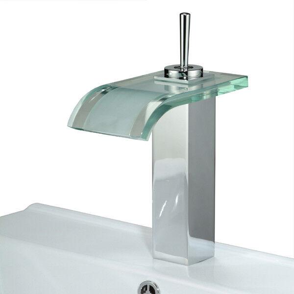 EINHEBEL WASSERFALL GLAS WASCHTISCH ARMATUR WASCHSCHALE | MASSIVE AUSFÜHRUNG