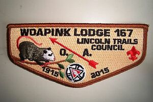 OA-WOAPINK-LODGE-167-LINCOLN-TRAILS-PATCH-POSSUM-NOAC-2015-100TH-CENTENNIAL-FLAP