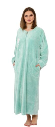 Embroidered Chenille Robe Coffee Cup Moon Star Snowflake Long Dressing Gown
