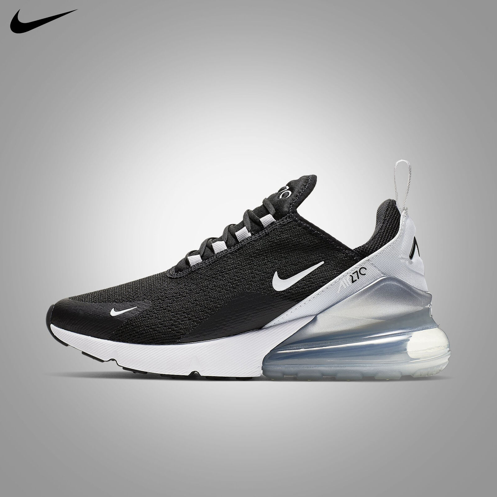 Nike Women's Air Max 270 Black Pure Platinum White 2019 Running Gym AH6789 013