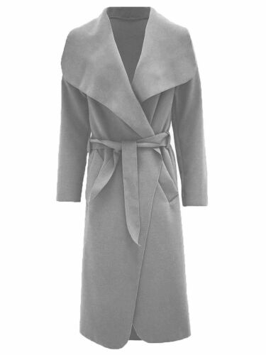 Meghan Markle Italian Long Duster Coat Ladies Belted Trench Waterfall Jacket