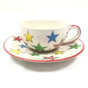 Details About Whittard Of Chelsea Multi Color Star Print Coffee Tea Mug Cup Saucer Set Dining