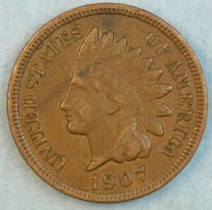 1907-Indian-Head-Cent-Penny-Liberty-Very-Nice-Vintage-Old-Coin-Fast-S-amp-H-34004