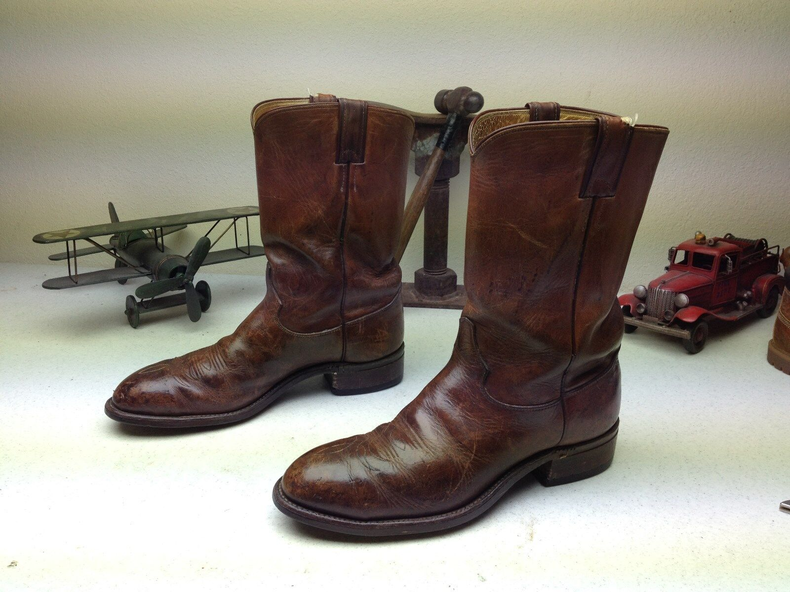 VTG DISTRESSED USA JUSTIN ENGINEER WORK BROWN LEATHER MOTORCYCLE BOOTS 11.5 B