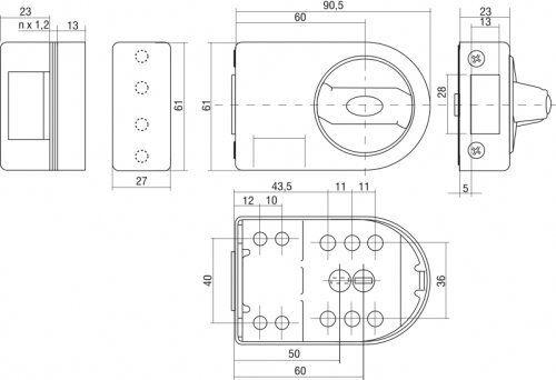Gerda High Quality Surface Mounted Door Lock 3 Keys 4 Colours ZN100
