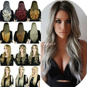 Uk 100 Real New Ombre Hair Full Wigs Black Brown Blonde