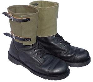Genuine-EX-Militare-Boot-ghette-di-Tela-amp-Pelle-Olive-Scarpe-Gamba-delle-ghette-VINTAGE-1960s