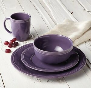 Image is loading Rachel-Ray-Dinnerware-Dishes-Dish-Set-Service-for- & Rachel Ray Dinnerware Dishes Dish Set Service for 4 Purple Stoneware ...