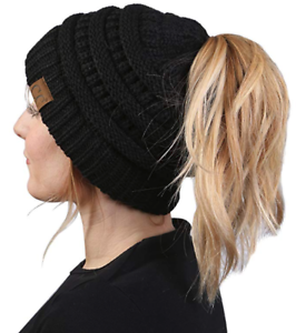 Image is loading Funky-CC-Ponytail-Messy-Bun-BeanieTail-Womens-Beanie- 7e18c0187d5