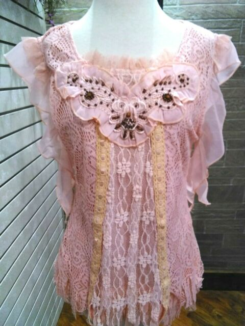 Pretty Angel NWT boho sleevless lace top womens ,blush beaded trim large