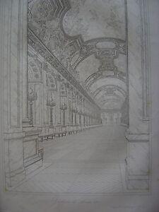 2019 DernièRe Conception Grande Gravure Du Château De Versailles La Galerie De Louis Xiv