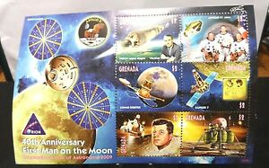 """2 SHEETS($13.00) OF MINT STAMPS(GRENADA/ST.VINCENT),""""40TH ANVRS.MAN ON MOON""""."""