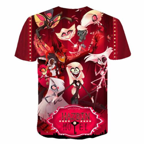 Hazbin Hotel Angel Dust 3D printed t shirts Short Sleeve tops basic tee for kids