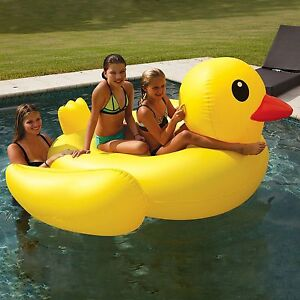 Rubber Duck Pool Float Duckie 2 Person Raft Lounger Lake