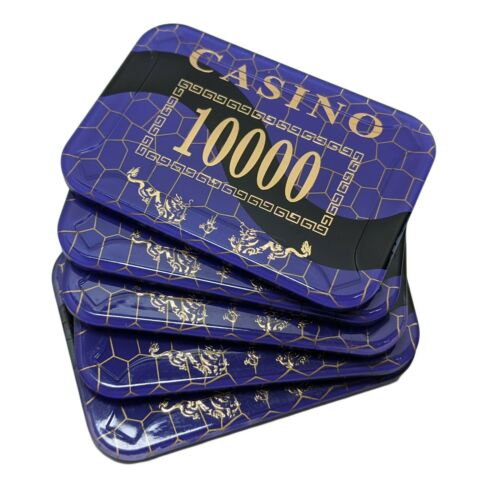 European Style Casino Plaques Rectangle Poker Chips Set of 5 Like MSK Matsui B/&G