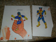 2 LOT ORIGINAL COLOR ART MARVEL XMEN WOLVERINE BURGER KING FASTFOOD FIGURE TOYS