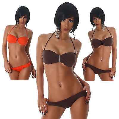 Bandeau Neckholder Bikini mit Brosche elegant Bademode Strand Beachwear Größe