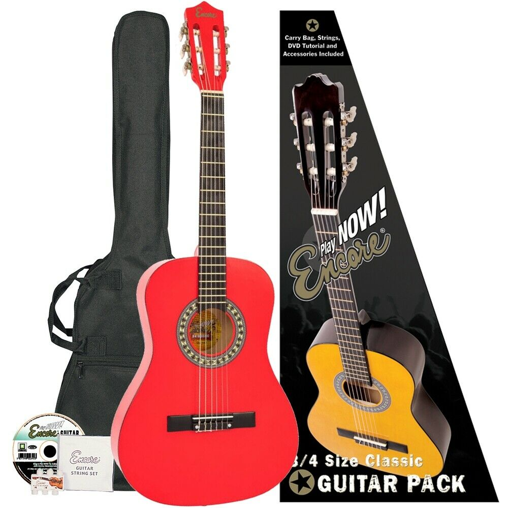 Encore 3 4 Größe Classical Guitar Pack rot
