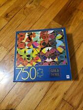 "Gold Dore Circles Strokes 750 Piece Jigsaw Puzzle Milton Bradley 27""x20"""