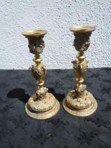 Paire bougeoirs bronze doré décor renaissance Alfred Daubrée époque 19ème WAeoqW4B-07203351-724356067