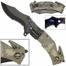 US ARMY RESCUE FOLDING KNIFE w/ LED LIGHT.CUCHILLO TACTICO CON LUZ