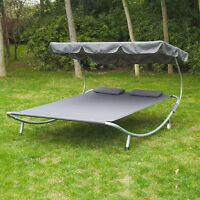 Patio Sun Lounger Bed Double 2 Person Standing Hammock Canopy Outdoor with Pillow