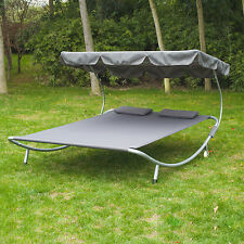 Patio Sun Lounger Bed Double 2 Person Standing Hammock  Canopy Outdoor w/ Pillow
