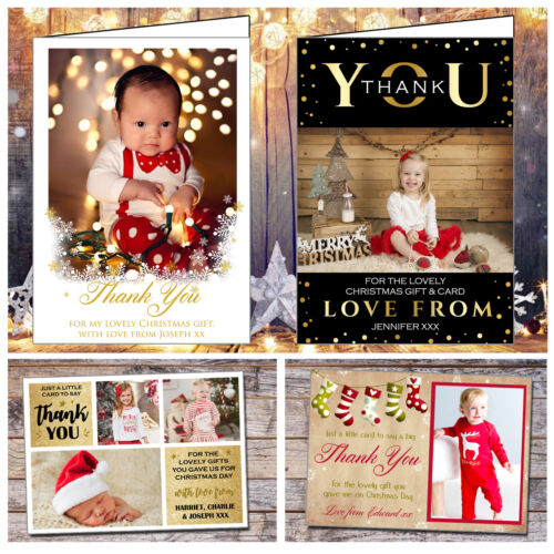 Personalised Pack Of Christmas Thank You Cards With Photo Free Envelopes Kids
