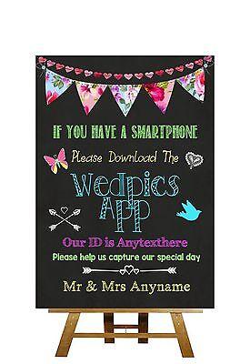 Bright Chalkboard Style Wedpics App Photo Personalised Wedding Sign
