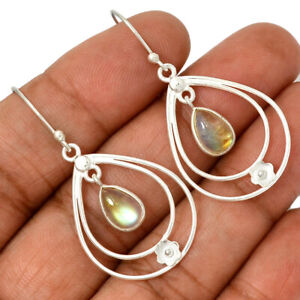 Rainbow-Moonstone-India-925-Sterling-Silver-Earrings-Jewelry-AE95924-188L