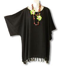 KB11 Black Plus Size Caftan Kaftan Tunic Hippy Maternity Blouse 2X, 3X, 4X & 5X