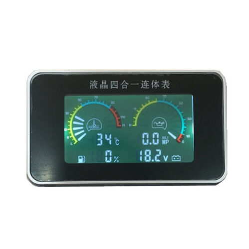Car LCD 4in1 Gauge Water Temperature Meter //Oil Pressure//Fuel//Voltage Volt Gauge