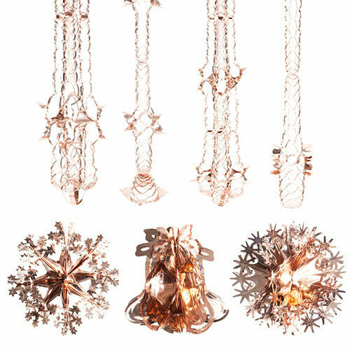 Or Rose De Noël Feuille Plafond Décoration Guirlandes Cloches étoiles flocons de neige UK