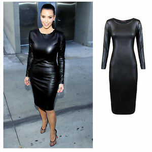 3eb5b5473a8 LADIES WET LOOK LONG SLEEVE PU WOMENS BODYCON MIDI FAUX LEATHER ...