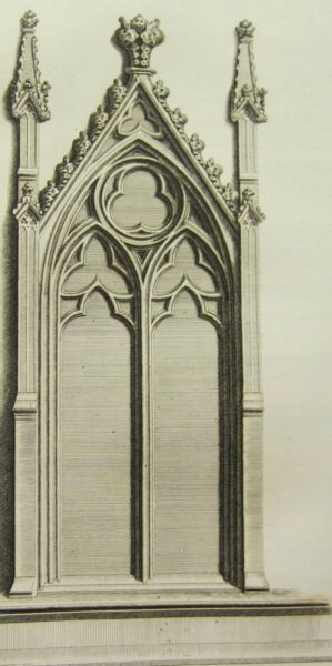 Architectural & Garden 1795 Print Gothic Ornament York Minster ~ Two Heads Over A Stall Chapter-house Antiques